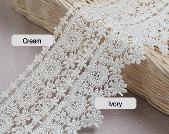 "14Yds Embroidery scalloped eyelet venice lace trim 2""- 5cm YH1097 laceking2013"