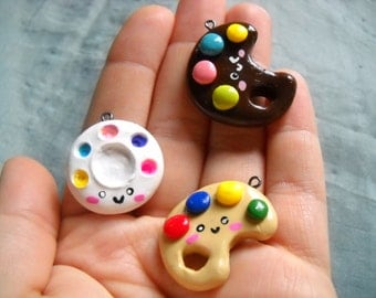 Polymer clay paint pallet charms