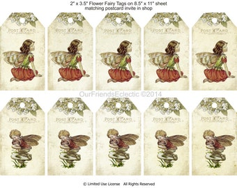 flower fairy tags, printable fairy tags, digital download, vintage postcard tags, printable gift tags, instant download, you print
