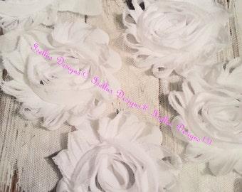 """6 Piece 2.5"""" White Shabby Flowers"""
