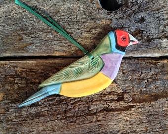 Australian Gouldian Finch- Ceramic Decorative Bird, Handmade