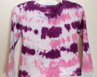 Girls' 24mos long sleeve tie dye top pink and purple stripes