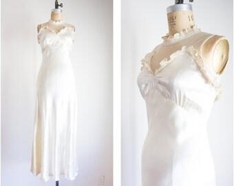 1930s illusion neckline wedding dress / size small medium