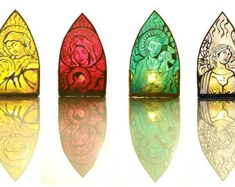 Hand Made Stained Glass Candle Lamp Holders