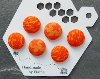 Fabric Covered Buttons - 6 x 18mm buttons, handmade button, orange buttons, yellow buttons, flame button, fire buttons, nebula buttons, 0823