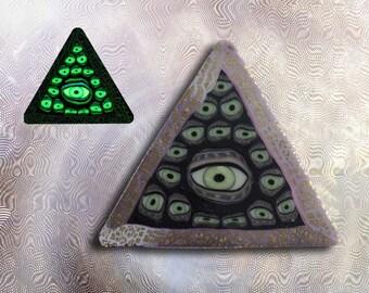 EyeGloArts  Glow in the Dark All Seeing Eye Illuminati Pyramid Handmade Millefiore Blacklight Art #P192014