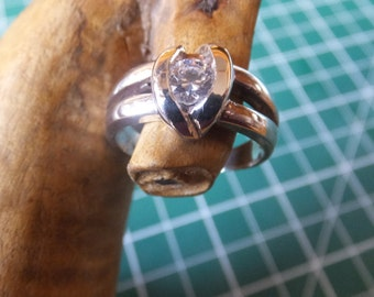 Sterling Silver and Cubic Zircon Ring........Size 6
