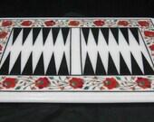 Backgammon Board Game marble inlay coffee table  Unique Home Decorative Pietra Dura Art Piece