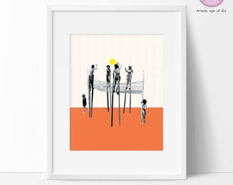 Pop art print poster - - Volleyball print - Inspirational Contemporary Illustration