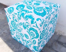 Printed cotton ottoman / pouf cover, polish folk art, floral print, 17X17X17 inches, size and color available
