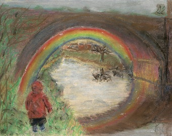 """Original Artwork - Pastel Artwork - """"Wishing You Happiness"""" - Abstract Art, Rainbow Art, Canal, Framed Art, Ready to Hang, Pastel Drawing."""