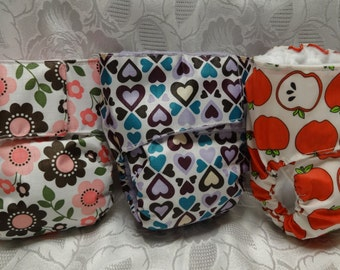 Diapers Fitted All In One (aio) Waterproof Cloth Diapers - Lot of Three Starter Set