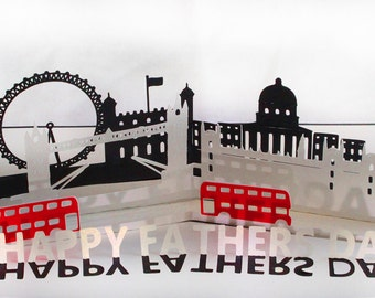 3D SVG Pop up Card London theme Fathers day