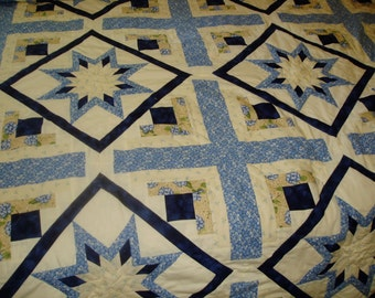 Hand Quilted Quilt Star and Log Cabin bed quilt