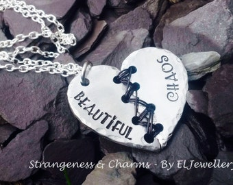 Hand stamped Beautiful Chaos Aluminium Broken Heart Necklace, Unique, Stitched Heart, Wirework,Unique, Metal Jewellery, OOAK