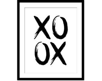 XOXO Print - Hugs and Kisses Print - Typography Art Poster Print - Hand Paint Handwriting Style