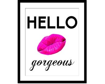 Hello Gorgeous Lips Print Wall Decor Home Decor #0: il 340x270 8u8j
