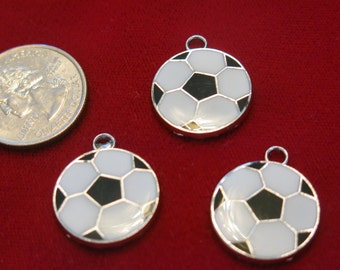 """5pc """"soccer ball"""" charms in antique silver style (BC450)"""