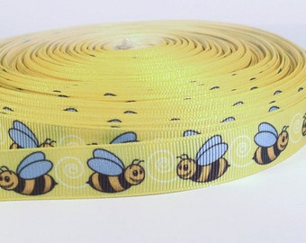 """5 yards of 5/8 inch """"bees"""" grosgrain ribbon, by the yard"""
