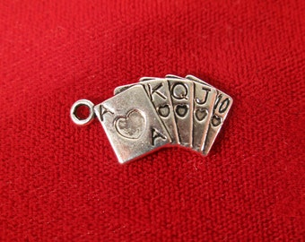 "10pc ""poker cards"" charms in antique silver (BC233)"