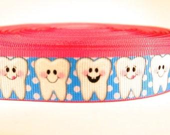 "5 yards of 7/8 inch ""molars"" grosgrain ribbon"