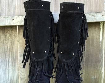 Black Suede Minnetonka Mid-Calf Fringe Boots Size 5 1/2