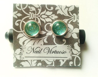 Mint Glitter Earring Studs - Nail Polish Earrings - 10mm Cabachons - Lead and Nickel Free - Silver Plated Brass Earrings