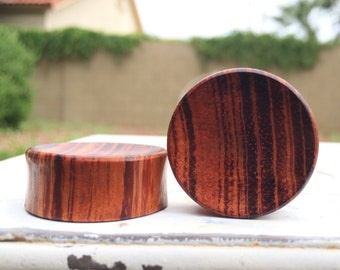 "Concave Red Tiger Wood Plugs 8g 6g, 4g, 2g, 0g, 00g, 1/2"" (12mm)"