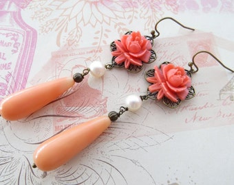 Coral earrings, dangle earrings, pink rose earrings, carved flower earrings, drop earrings, bronze filigree earrings, vintage style jewelry