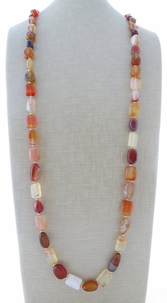 Agate Necklace Orange