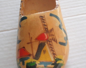 DUTCH WOODEN SHOE - Decorative Hanging Souvenir Marked Aruba - Wood Burning and Hand Painted