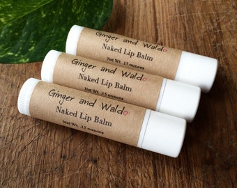 Naked Lip Balm - Unscented Lip Balm - Unflavored Lip Balm - Natural Lip Balm - Beeswax Lip Balm