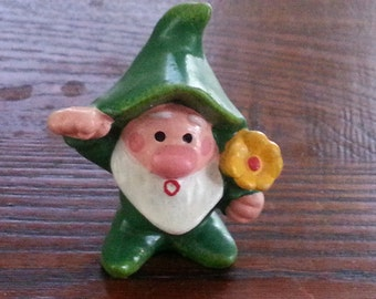Vintage Napcoware Garden Knome Figurine with Yellow Flower Power Christmas Elf or Wizard