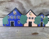 Vintage Handmade Key Holder Wall Hanging Houses