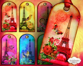 Eiffel Tags - Instant Download - Digital Collage Sheet - Printable Tags -  Gift Tags - Vintage Tags - Digital Cards - Gift Cards