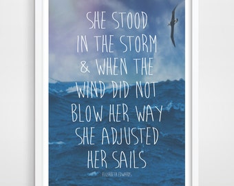 Inspirational Quote - Travel Art - Wall Quotes - Ocean Quote Print - Nautical Wall Art - Wall Decor - Home Decor - Adventure Poster.
