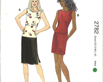 Kwik Sew Pattern 2782   Misses Tops and Skirts   xs,sm,med,lg,xlg   UNCUT