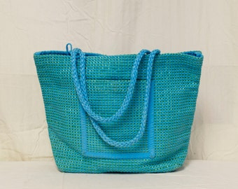 Free Ship Large Green and Blue Tweed Tote Bag Shoulder Bag Purse