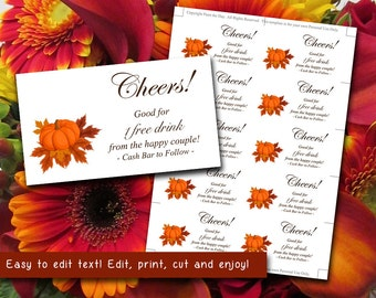 Wedding Drink Card Ticket Template Wedding Drink Ticket Autumn Pumpkin Leaves Brown Orange Wedding Favor Insert | Fall Wedding Bar Ticket