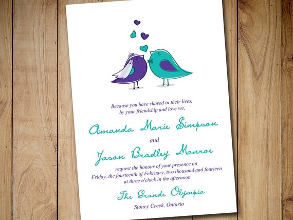 Bird Wedding Invitation: Love Bird Wedding Invitation Template By PaintTheDayDesigns