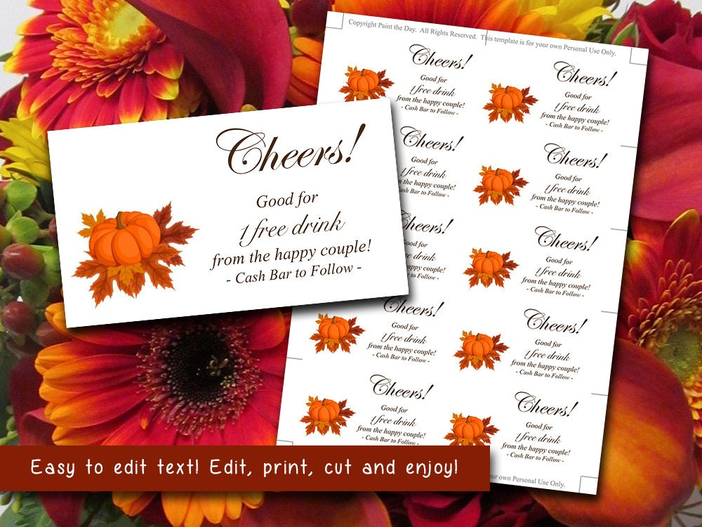 Wedding Card Signatures Wedding Drink Card Ticket