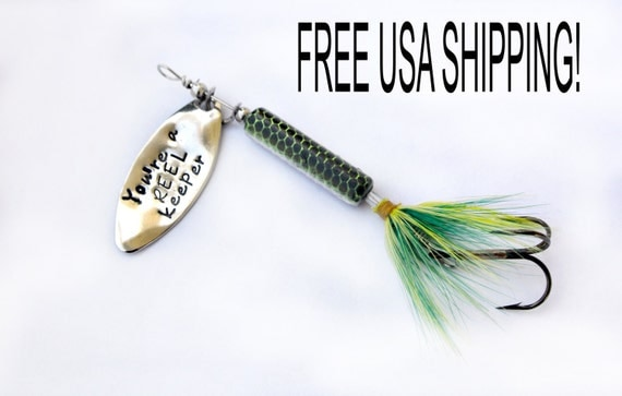 Personalized fishing lure hand stamped fishing lure engraved for Personalized fishing lure