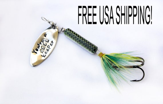 Personalized fishing lure hand stamped fishing lure engraved for Engraved fishing lures
