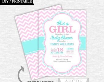 Aqua and Pink Chevron Girl Baby Shower invitation 5x7 Chevron DIY Printable ( OTH003 )
