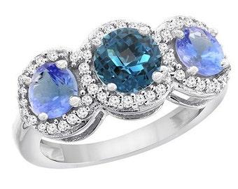 10k/14k Gold Natural London Blue Topaz & Tanzanite Sides Round 3-stone Ring Diamond Accents, Sizes 4 - 10