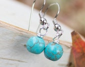 Turquoise Earrings - Aqua Beads - Dangle Earrings - Nature Inspired Jewelry Earring Gift Set for Mother's Day Gift for Mom Matching Earrings