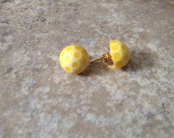 Yellow polkadot posts yellow stud earrings gold plated posts plastic cabochon earrings summer earrings minimal domed earrings retro style