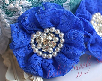 Set of 2 - Royal Blue Beaded Lace Flowers -Royal Blue Fabric Flower - Lace Beaded Flower - Parisian Chiffon Flowers