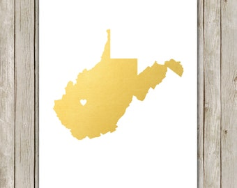8x10 West Virginia State Print, Geography Art, Metallic Gold Art, West Virginia Poster, Office Print, Home Decor, Instant Digital Download