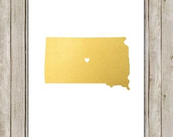 8x10 South Dakota State Print, Geography Art, Metallic Gold Printable, South Dakota Poster, Office Art, Home Decor, Instant Digital Download